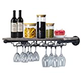 ZOVOTA Hanging Wine Glass Rack Wall Mounted Wine Rack Restaurant Rustic with Hanging 5 Stem Glass Holder Kitchen Wood Storage Rack Shelving Home Kitchen Bar