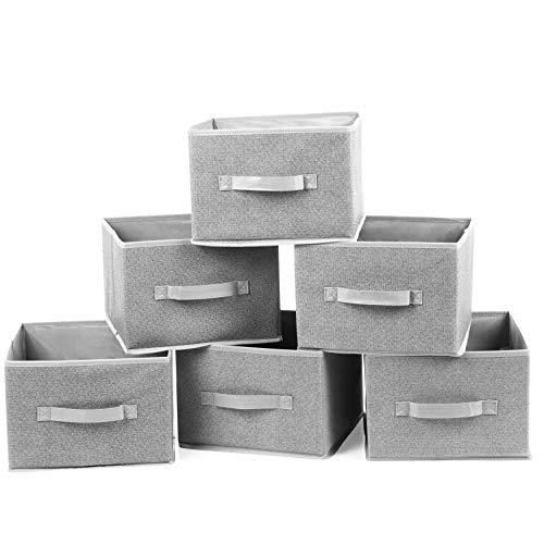 2friends 6 Aufbewahrungsboxen, 6er Set, stabil und faltbar, aus stabilem Vlies, grau, Maße 28x27x20 cm, passend für viele Regale und Schubladen