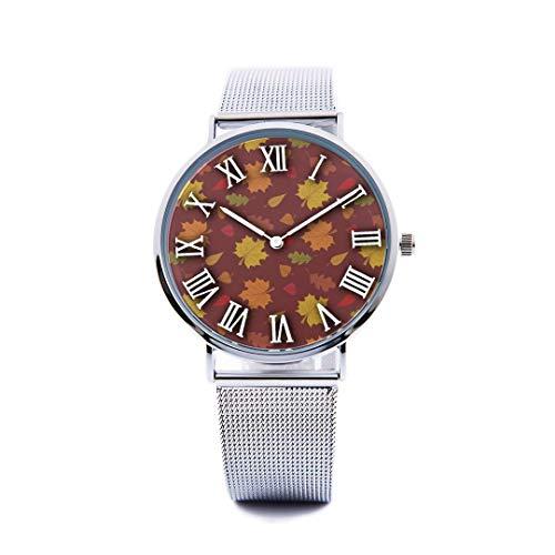 Unisex Fashion Watch Abstract Background Maple Leaf Aspen Leaf Pumpkin Autumn Design Print Dial Quartz Stainless Steel Wrist Watch with Steel Strap Watchband for Women/Men 36mm&40mm Casual Watch -  NQEONR, 20190321-WATCH-346-517533748