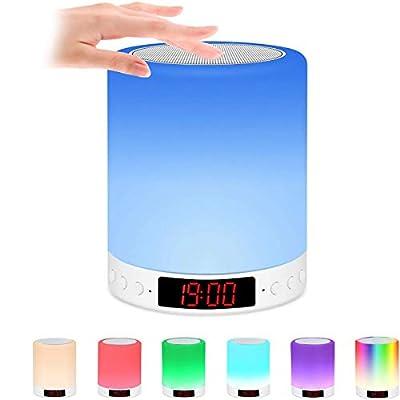 【Altavoz Bluetooth】Esta lámpara de noche se puede utilizar como altavoz Bluetooth. Con Bluetooth 4.2, se puede conectar rápidamente a tu smartphone sin que se alcance 10 metros y calidad de sonido HD. Reproduce música con la luz nocturna Bluetooth pa...