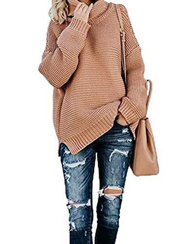 Cayuan Mujeres Suelto Suéter Jerséis de Cuello Alto Manga Largo Cálido Prendas de Punto Pullover Jerseys Tops Otoño Invierno Gris