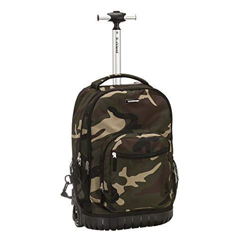 Rockland Single Handle Rolling Backpack, Camouflage, 19-Inch