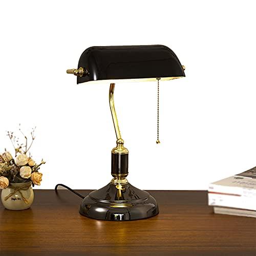 DUTUI Retro Verde República De China Lámpara De Escritorio del Banco Decoración Lámpara De Noche Lámpara De Escritorio De Color Cobre Antiguo Adecuada para Oficina,Negro