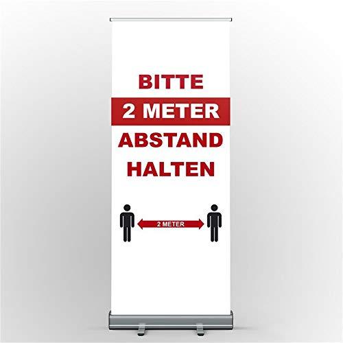 Roll Up Display Bitte 2 Zwei Meter Abstand halten Achtung Aufsteller Banner Corona