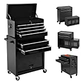 High Capacity Tool Chest with 8 Drawers, Detachable Rolling Tool Box with 2 Lockable Cabinets and 4 Wheels, Portable Tool Storage Cabinet fo Warehouse, Garage, Repair Shop, Black