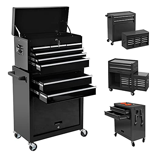 8-Drawer Tool Chest, High Capaciyt Rolling Tool box with Lock, Removable Portable Tool Box Organizer, Tool Cabinet with Sliding Drawers and 4 Wheels, Tool Chest for Workshop Garage (Black)