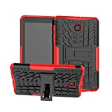 Galaxy Tab A 8.0 Case (2018 Released SM-T387), YMH TPU Shock Absorption Technology Raised Bezels Protective, Heavy Duty Protection Kickstand Case Cover (Black+HotRed)