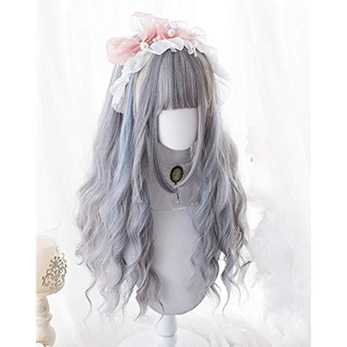 Perücken Wig 70CM Lolita Mixed Grey Blue Ombre Long Wavy Harajuku Bangs Hair Halloween Cute Party SyntheticWig
