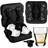 3D Skull Ice Cube Trays, Bairuifu 2Packs Upgraded Large Easy Release Silicone Ice Cube Molds, BPA Free, Leak Free Ice Ball Maker for Whiskey, Cocktails, Juice Beverages, Bourbon, Chilled Drinks, Beer
