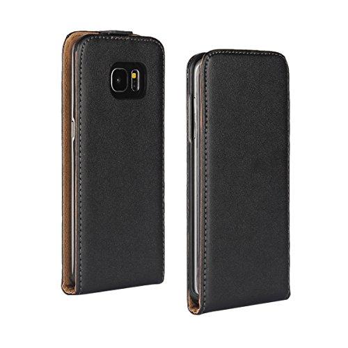 UBMSA Skin Cover Kunstleder Tasche für Samsung Galaxy S7 Edge/A310/A510/A710/J5 Schutzhülle Hülle Schale Etui Flip Case Cover UP DOWN (Black, Samsung Galaxy S7 Edeg)