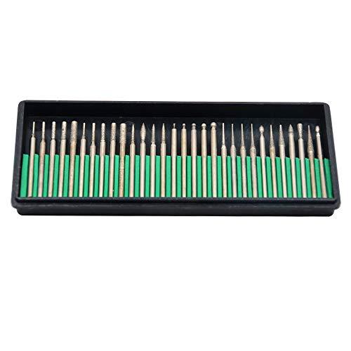 Oudtinx Tm 30 Pcs Diamond Burr Bits Drill Glass Gemstone Metal for Dremel Craftsman Rotary Tool 1/8