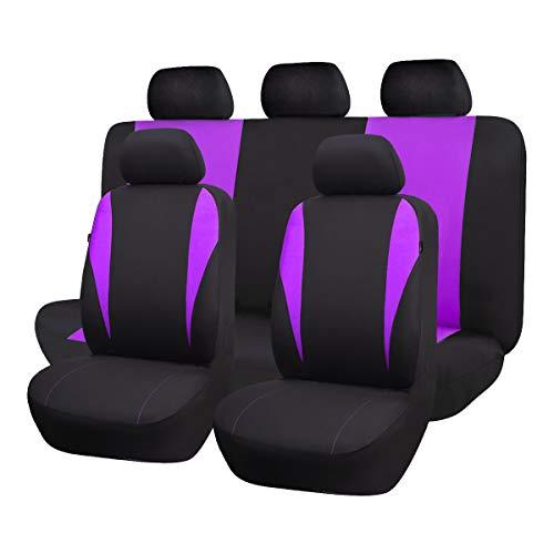 Flying Banner Copri-Sedile Auto Universale Set Coprisedili Universali per Anteriori e Posteriori (Viola)