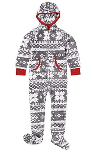 PajamaGram Cozy Footed Pajamas Kids - Soft Fleece Girls Footed Pajamas, Gray,...