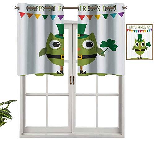 Hiiiman Cortinas cortas, con diseo de bho con bloqueo de luz y disfraz de duende para fiestas con patrn de trbol, juego de 1, 137 x 45 cm, cortinas para ventana para sala de estar