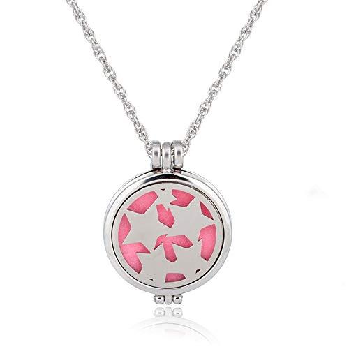 YQMR Colgante Collar para Mujer,Moda Collar Difusor De Aceite Esencial Exquisito Hueco Estrellas Grabadas Colgante Amuleto Joyería Regalo para Mujeres Aniversario Parejas Cumpleaños