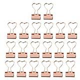 TOYANDONA 20 Pezzi Fermagli per Raccoglitori a Forma di Cuore Fermagli per Carta in Metallo per Appunti Graffette per Fogli Forniture per Ufficio Rosa d'oro