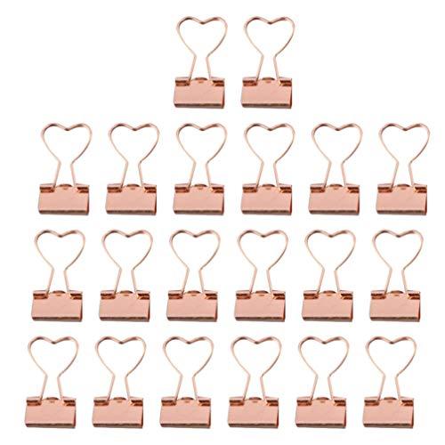 TOYANDONA 20 pinzas para archivador con forma de corazón, pinzas para papel de metal, para sujetar hojas, suministros para oficina, color rosa dorado
