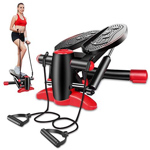 Mini Stepper Cardio Fitness Casa, Hometrainer Stepper con Pantalla Digital LCD, Máquina Paso a Paso con Banda de Resistencia Entrenamiento para el Hogar