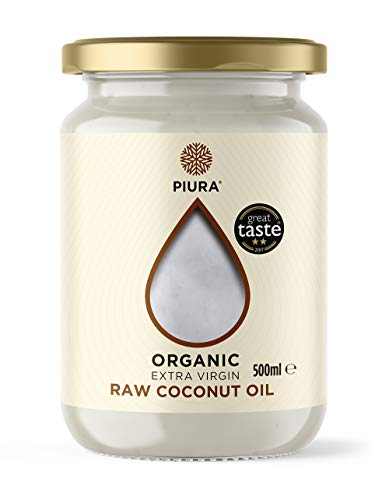 Piura Organic Extra Virgin Raw Coconut Oil 500ml, use in Cooking, Baking and as Hair & Skin Moisturiser