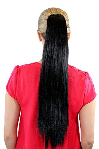 Extension, postiche, noir, couette/tresse, lisse, pince papillon env. 65 cm, XF-6464-2