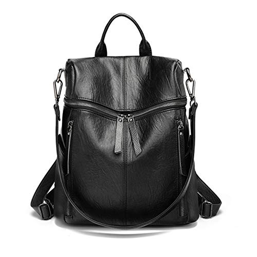Casual Leather Backpack for Lady, Multipurpose 2 in 1 as Backpack and Shoulder Bag, Vintage Daypack School Bag Lightweight Large Capacity and Multipocket, for Work School Travel Daily Use (Black)