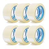 gws Paket-Klebeband PP leise Verpackungsband geräuscharm abrollend | Packband mit hoher Klebkraft in Profi-Qualität | versch. Farben | Länge: 66 m | Breite: 50 mm | Dicke: 50 μm (6 Rollen - farblos)