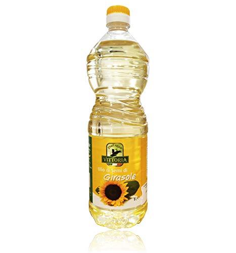 """12pz - Olio di Semi di Girasole """"Vittoria"""" - Bottiglia Pet da 1 Litro 1lt 1000ml - Cartone da 12 Pezzi - 12 Litri"""