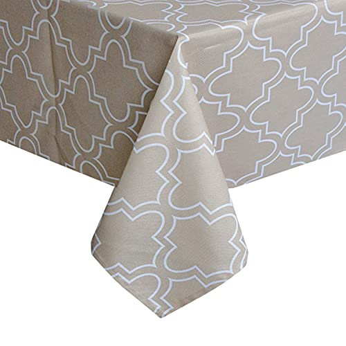 Tablecloth 52 x 52-Inch for Square Tables, Khaki Table Clothes Water-Repellent and Spill Proof