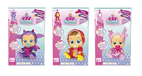 Bebés Llorones Fantasy Surtido de 3 Pijamas: Dragón, Dino y Reno - Accesorios muñeca