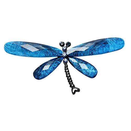 Brooches for Women, Vintage Rhinestone Insect Dragonfly Shape Brooch Pin Animal Breastpin - Blue