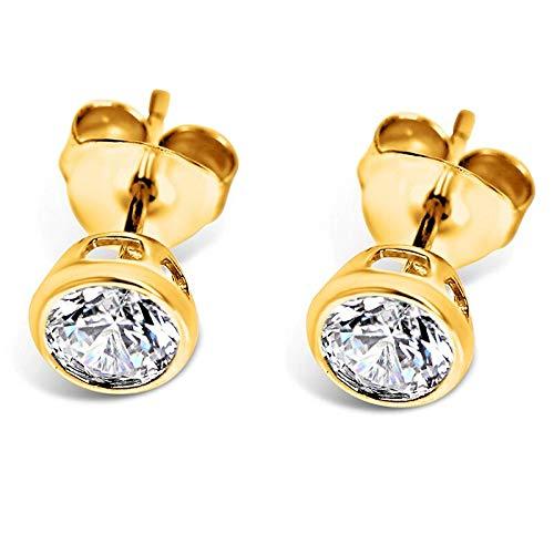 Isabella Silver LONDON Designer Jewellery 925 Sterling Silver 5mm CZ Martini-Style Bezel-Set Stud Earrings (Yellow Gold)