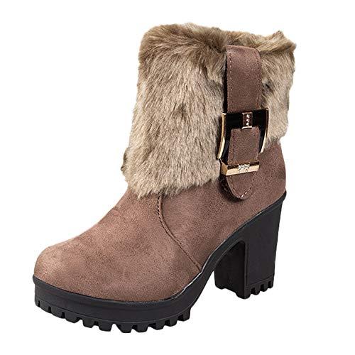 Meilleure Vente!Talon haut Bottes de Neige Bottines d'hiver,ELECTRI Bottes d'hiver pour Femmes, Chaussures de Mode Bottes Femme Rehaussant et Velours 35-40