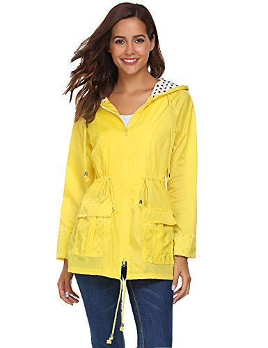 Beyove Damen Regenjacke Regenmantel mit Kapuze Tasche Funktionsjacke Regenparka Wasserdicht Atmungsaktiv(M (Herstellergröße: M), Gelb)