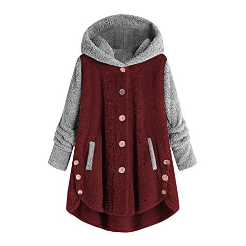 Frauen Plus Size Button Coat Patchwork Tops Kapuzenpullover Loser Lässige Tasche Pullover Mantel Damen Mode Komfortabel Übergröße Langarm Farbe Nähten Plüschjacke Wintermantel