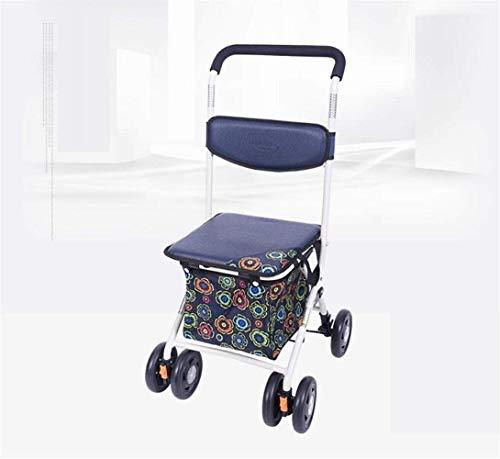 Carrito de la compra Carro plegable portátil de gran capacidad con asiento acolchado Andador utilizado para comprar alimentos que se adaptan a los ancianos