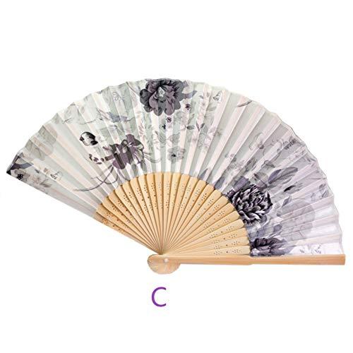 Connoworld Vintage Bamboo Fan Classical Floral Pattern Handheld Folding Fan Dance Craft Fan Gift C