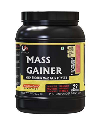 Advance MuscleMass Mass Gainer (Whey Protein) Supplement Powder - Strawberry, 1 Kg / 2. 2 Lb 29 Servings
