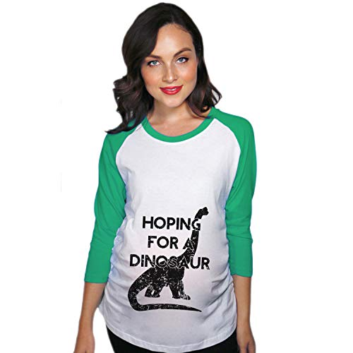 Crazy Dog Tshirts - Maternity Raglan Hoping for A Dinosaur Cute Funny Pregnancy Baseball Tee (Green) - S - Femme