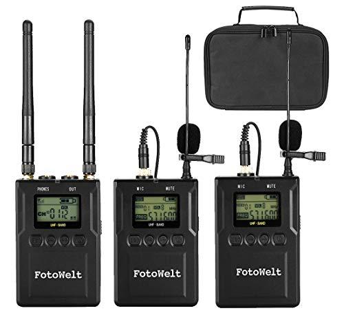 Fotowelt 100-Kanal Zweikanal UHF Professionelles drahtloses Lavalier-Mikrofon System Kompatibel mit DSLR-Kameras/Camcordern/Telefonen für Videoaufnahmen Programm-Hosting Unterricht und Interviews