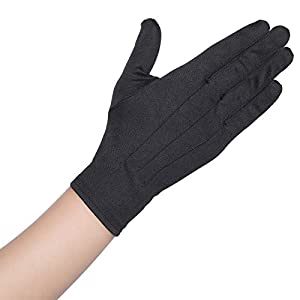 BABEYOND Short Satin Gloves Opera Wedding Gloves Special Occasion Gloves Wrist Length Gloves for Party Costume (Black)