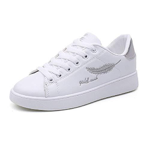 GERPY Zapatillas de Deporte Zapatos de Moda pequeños Zapatos Blancos de Fondo Plano Femenino con Bajos para Ayudar a los Zapatos Casuales Zapatos Deportivos de Mujer