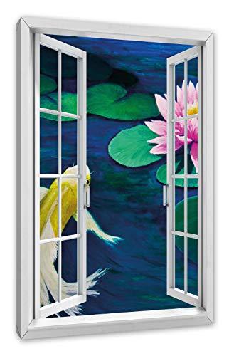 Pixxprint Koi met Seerose kunst, raam canvasfoto | muurschildering | kunstdruk hedendaags 80x60 cm