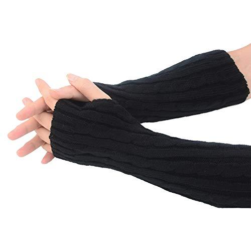 Winter Gestrickte Handschuhe für Damen, Tukistore Fingerlose Armstulpen Feinstrick lang Handwärmer Stulpen, Warm Strick Handschuhe Pluswärmer Handstulpen Armwärmer Stulpen für Damen