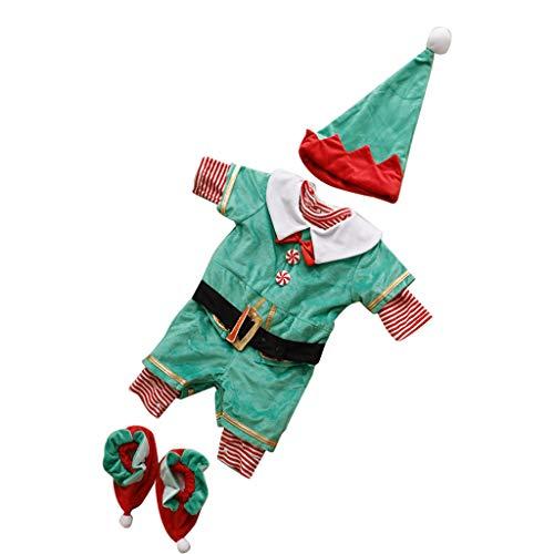 F Fityle Bambino Neonato Natale Xmas Santa Elf Babygrow Fancy Dress Costume Vestito - Elfo di Babbo Natale A, Taglia unica