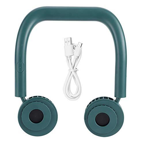 Sollmey Colgante - Ventilador Colgante portátil con Manos Libres para el Cuello Ventilador eléctrico de Carga Mini USB Ventilador de refrigeración(Verde)