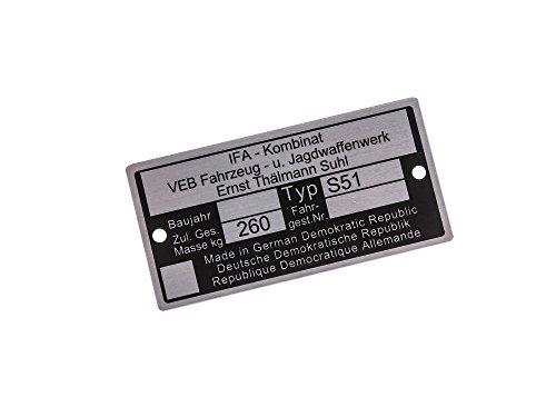 Replika Typenschild S51 Aluminiumplakette