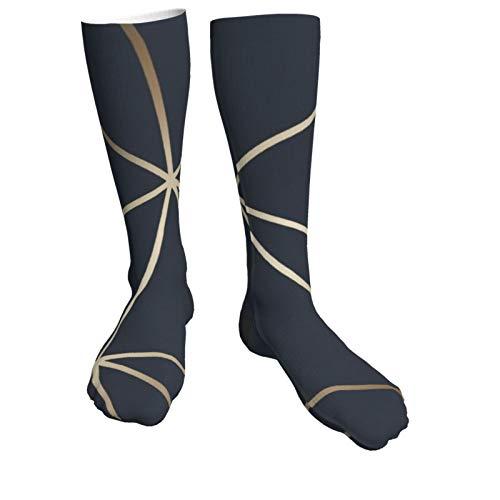 Jack16 Zara Schimmer Metallic Navy Gold Unisex Kniestrümpfe Lange Socken Hohe Stiefel Oberschenkelhoch Strümpfe Beinwärmer Sportstrumpf