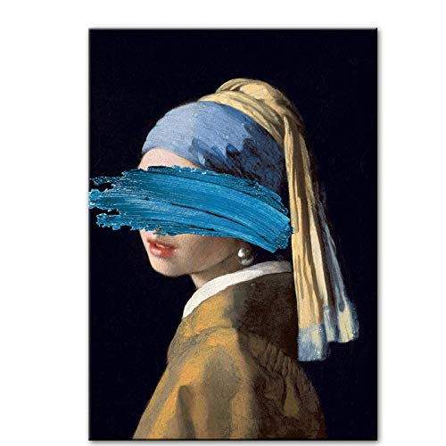 The Girl With A Pearl Earring Canvas Paintings Reproductions Famous Artwork By Jon Pop Art Prints Wall Pictures For Home Decor-70x100cmx1 No Frame