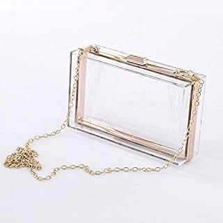 Luggage & Bags Dinner Retro Clutch Bag Diagonal Shoulder Chain Small Square Bag (Black) Luggage & Bags (Color : Transparent)
