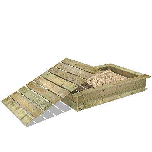 WICKEY Sandkasten Holz Sandkiste King Kong 120x165 cm mit Deckel